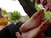 Footjob babes toes cummed