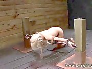 Bdsm blonde pussy and throat fucked by a huge dick