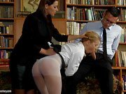Cindy Hope is spanked over the teachers desk and anal pounded for being a bad student