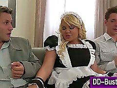 Busty french maid sucks and tugs