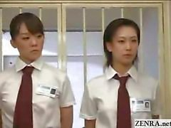CFNM Japanese inmates line up for daily penis inspection and handjob