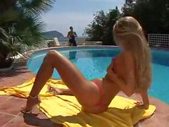 Bikini girl fucked by the pool