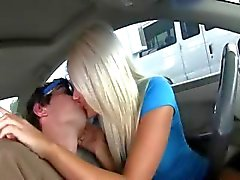 Horny babes smoke dick in car