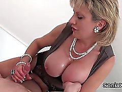 Unfaithful british milf lady sonia flaunts her big boobs