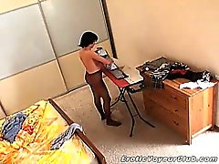 Spy cam filming hot brunette babe Miki wearing only nylons