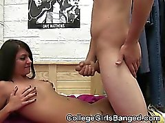 College Brunette Fucked And Taking Cumshot At Party