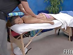 she relaxes and enjoys the massage