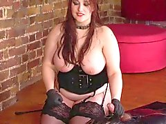 AMAZING BBW Mistress in velvet fucks slave