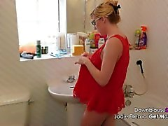 Jodie Ellen Downblouse Sexy Video Lookbook 1 Hot Blonde Babe Shot in 4K UHD