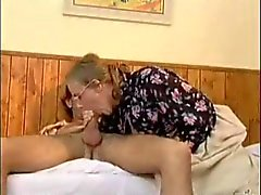 Older Mature Takes Young Cock In Mouth And Ass