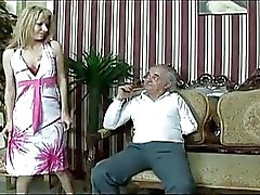 One armed old man gets a hot babe