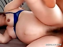 Asian pregnant babe pussy banged hard in bed