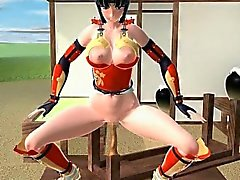 Samurai anime cutie trains her fuck holes with big cocks