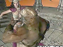 Hot 3D cartoon babe getting fucked hard by a monster