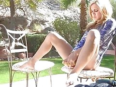 Ashley petite cute amateur blonde with naked ass outdoors and toying pussy indoors