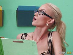 Naughty office babe Madison Scott gets caught fucking