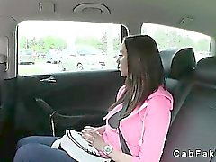 Busty brunette student fucked in fake taxi in public