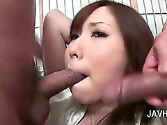 Asian threesome with slutty redhead sucking two dicks