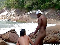 Latino bareback sex on the beach
