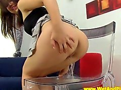 Piss loving teen sitting in her own pee