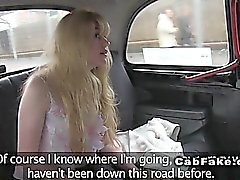 Red haired pussy blonde fucks in fake taxi