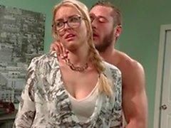 Beautiful blonde Keira Nicole rides her roommates big dick