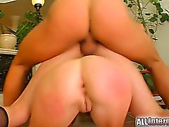 Two sexy girls their their pussies pounded. One girl takes