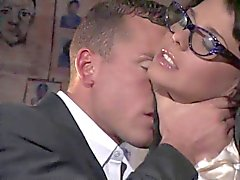 Gorgeous glasses wearing brunette secretary gets screwed