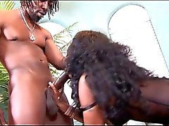 Rasta man bangs the sexy fat ass slut