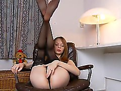 Black stocking and cunt masturbation
