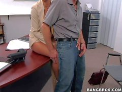 Nasty teacher Monique gives head in classroom