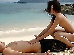 Extremely hot lovers loving on the beach