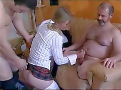 French schoolgirl hardcore gangbang with a DP