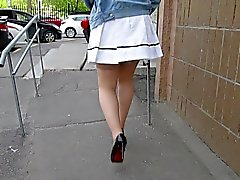 Stockings upskirt in windy day 2