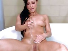 Carrie Du Four naked in tub fingering her cunt