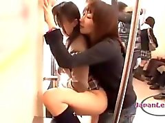 Asian Schoolgirl Getting Her Mouth And Pussy Fucked With Strapon By 2 Older Girls On The Train