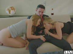 vixen Rich Boss Gets Threesome with Two Blondes