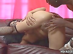 Asian chick with glasses Mika Tan rides black cock